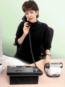 Woman answering phone